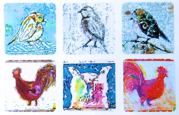 Mini Birds 2 - Fine Art Stickers