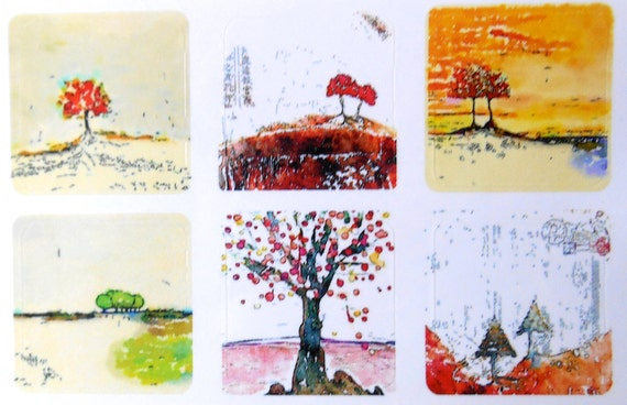 Mini Trees 2 - Fine Art Stickers