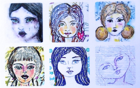 Mini Girls 3 - Fine Art Stickers