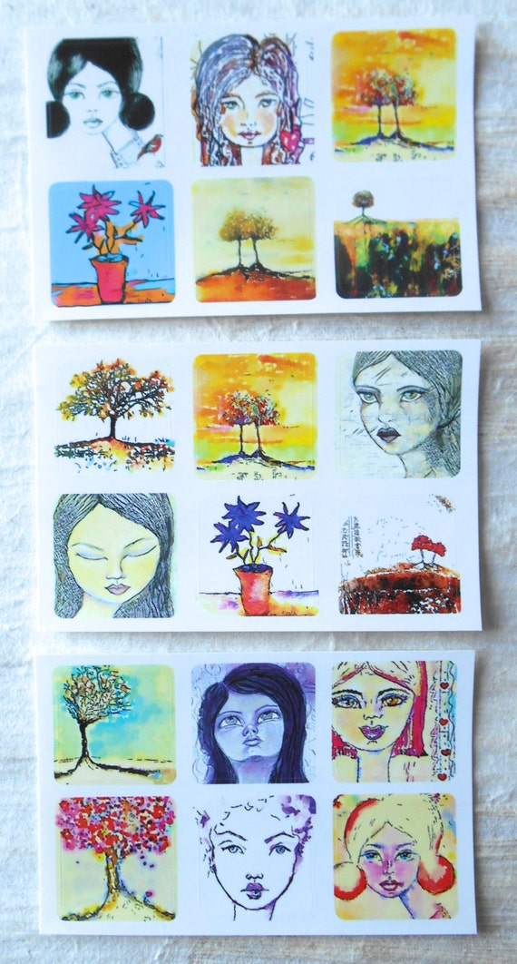Mixed Minis 3 - - Fine Art Stickers