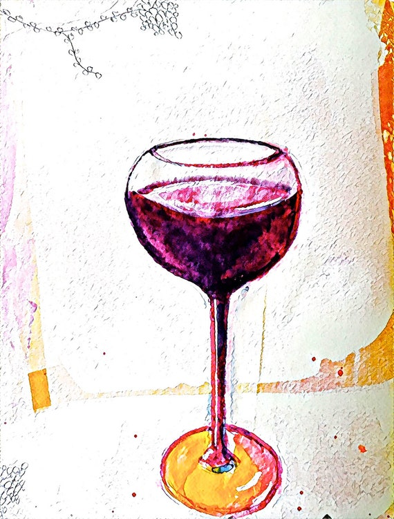 A Glass of Vino? - Large Fine Art Stickers