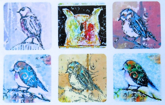 Mini Birds 3 - Fine Art Stickers