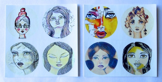 ROUND Fine Art Stickers - A few of my favorite Girls 2