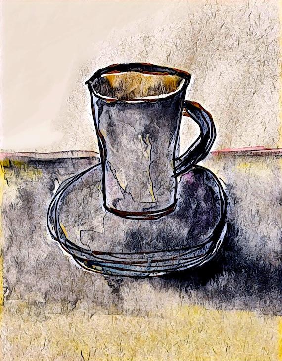 Cup of Joe - Dark Roast - Large Fine Art Stickers
