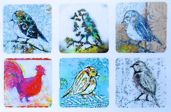 Mini Birds 1 - Fine Art Stickers