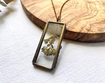 Locket - Pressed Oregano Flower Glass Keepsake ~ Rectangle ~ Curiosity Collection