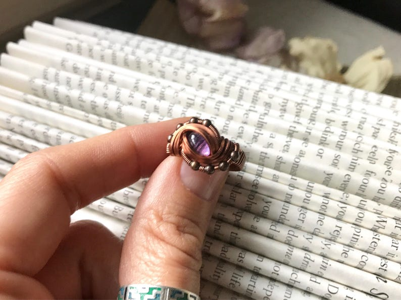 Amethyst Dragons Eye Wire Wrap Ring in Antique Copper size 5 CLOSEOUT