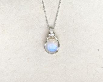Full Moon Mini Wire Wrapped Blue Moonstone Pendant - Original Design in .925 Sterling Silver Wire