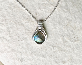 Aurora Mini Wire Wrapped Blue Labradorite Necklace - Original Design in .925 Sterling Silver Wire