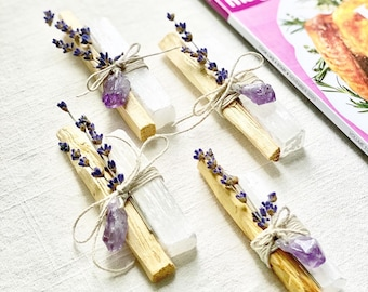 Original Inspired Restoration Bundles - Palo Santo, Selenite, Lavender with choice of Amethyst or Citrine Crystal Point