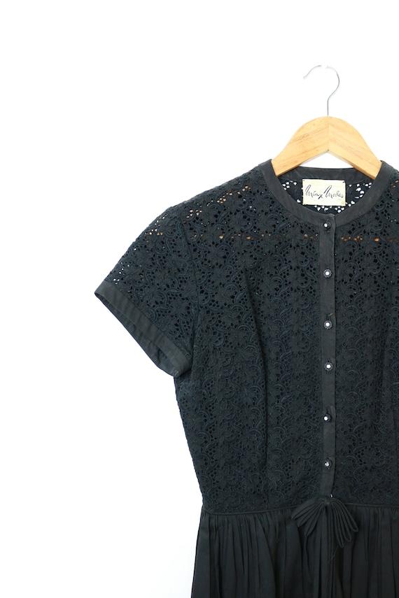 Minx Modes Vintage 1950s Black Dress / Lace Detail