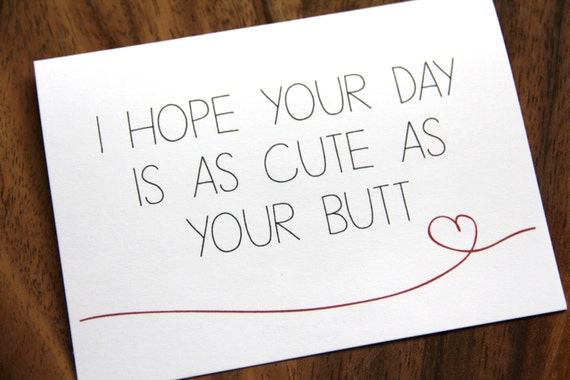 Cute Butt Happy Birthday I Love You Just Because Card Etsy