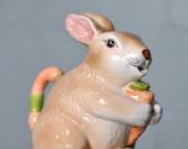 Vintage Ceramic Bunny Holding Carrot Pitcher or Tea/Coffee Pot Vase Easter Tableware Spring Decoration