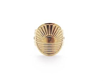 Sunset ring, adjustable, gold-plated 24 carat 3 microns, original creation.