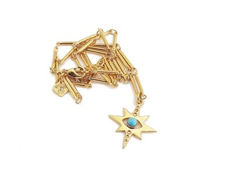 Grigri necklace gold turqoise star in fine gold 24 carat original creation Marine Mistake