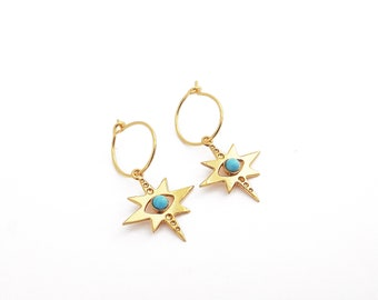Star creoles, turquoise, golden creoles with 24-carat fine gold, original creation. Marine Mistake. Made in France.