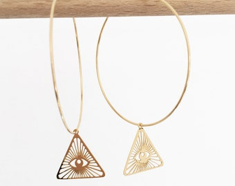 """Earrings """"I SEE U"""" gold Creoles triangle eye amulet wears good luck protection"""