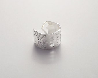 Ring adjustable geometric openwork and engraved plated silver model Leon