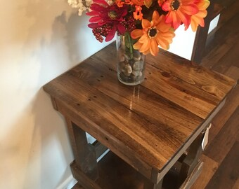 Reclaimed Wood End Table Night Stand Farm Rustic