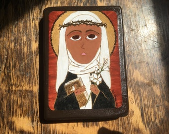 2.5 X 3.5 ish inch  Saint Catherine of Sienna Byzantine Folk Icon Print on Wood
