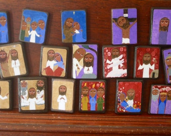 "Full set of 20 Mysteries of the Rosary in Byzantine/ Folk Style on 2.5"" X3.5"" ish wood by DL Sayles"
