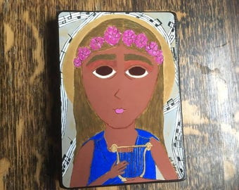 4 X 6 ish Saint Cecelia Byzantine folk icon print on wood