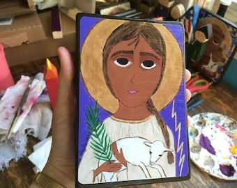 4 X 6 Saint Agnes Byzantine Folk style icon on wood