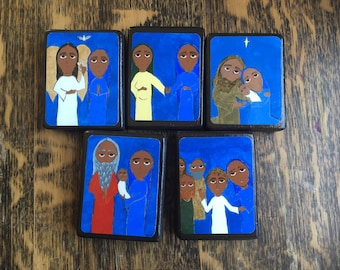 """Full set of 5 Joyful Mysteries of the Rosary in Byzantine/ Folk Style on 2.5"""" X3.5"""" wood by DL Sayles"""