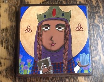 4 X 4 inch Saint Margaret of Scotland Byzantine Folk style icon on wood by DL Sayles