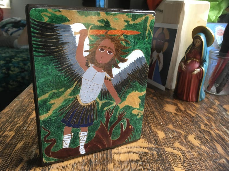 5 X 7 ish Saint Michael the Archangel Byzantine Folk Icon style on wood