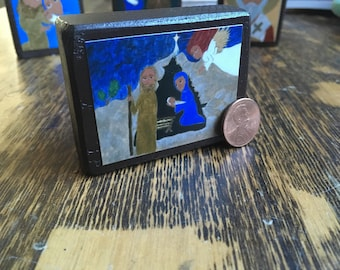 Tiny 2.5 X 2 ish inch Nativity Manger Scene Byzantine Folk style Icon on Wood