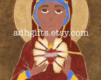 The Immaculate Heart of Mary 8 X 10 Digital Art Print