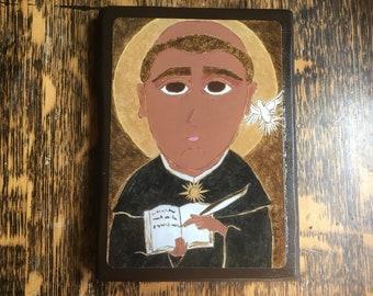 4 X 6 ish inch  Saint Thomas Aquinas Byzantine Folk Icon Print on Wood