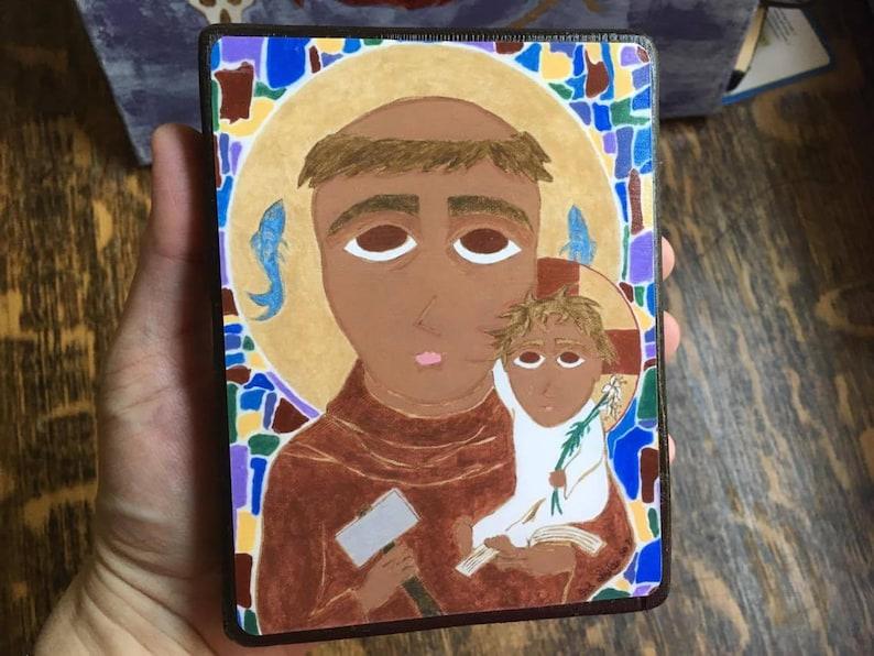4 X 6 Saint Anthony of Padua Byzantine Folk Icon Print on Wood image 0