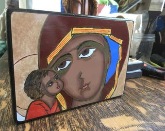 """5"""" X 7"""" Our Lady of Tenderness Byzantine Folk style icon on wood by DL Sayles"""