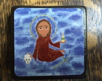 2.5 X2.5 Saint Mary Magdalene Byzantine Folk style Icon Print on Wood