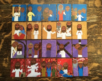 Set of3 X 2.5 inch 20 Mysteries of the Rosary Byzantine Folk Icon prints on Card stock by DL Sayles