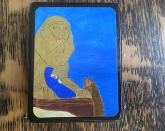 2.5 X 3.5ish inch Flight to Egypt Byzantine Folk style icon on wood by DL Sayles