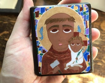 2.5 X 3.5 Saint Anthony of Padua Byzantine Folk Icon Print on Wood