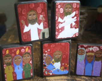 Set of five 2.5 X 3.5 inch-ish Glorious Mysteries Folk/ Byzantine icon print on wood by DL Sayles