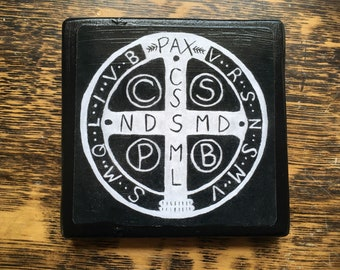 Saint Benedict Medal 4 X 4 inch Icon Print on Wood