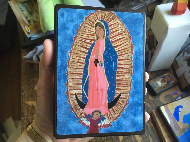 4 X 6 Our Lady of Guadalupe Folk style icon on image 0