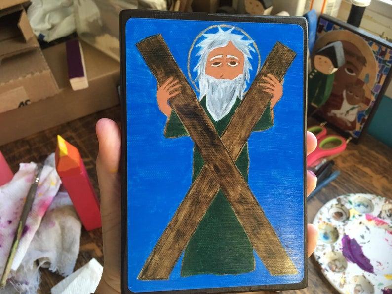 4X6 ish Saint Andrew the Apostle Byzantine folk icon on wood image 1