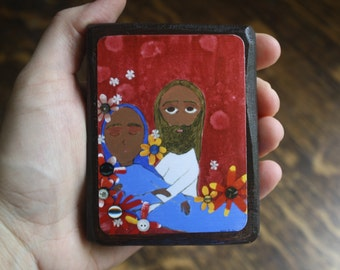 2.5 X 3.5 inch-ish The Assumption of the Blessed Mother Folk/ Byzantine icon print on wood by DL Sayles