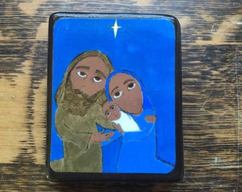 "2.5"" X 3.5"" The Nativity Byzantine Folk style icon on wood by DL Sayles"