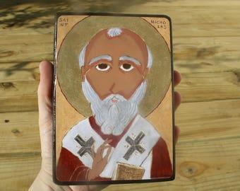 4 X 6 Saint Nicholas Folk Byzantine Icon print on wood