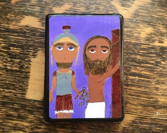 """2.5"""" X 3.5"""" Jesus Scourging at the Pillar Byzantine Folk style icon on wood by DL Sayles"""