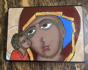 "4"" X 6"" Our Lady of Tenderness Byzantine Folk style icon on wood by DL Sayles"