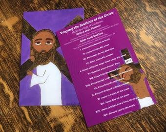 4 X 6 Stations of the Cross Prayer Card Byzantine folk style icon