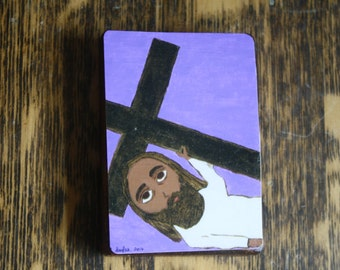 """2.5"""" X 3.5"""" Jesus falls a Second time with Cross Byzantine Folk style icon on wood by DL Sayles"""